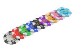 赌博娱乐场象征堆, 3D翻译 免版税库存图片