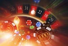 赌博娱乐场轮盘赌吹的芯片 向量例证
