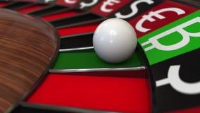 赌博娱乐场轮盘赌的赌轮击中Bitcoin BTC标志和不同的货币符号 投资策略概念 3d翻译 图库摄影