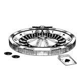 赌博娱乐场轮盘赌的赌轮手凹道剪影 向量 库存例证