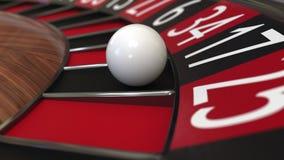 赌博娱乐场轮盘赌的赌轮球击中17十七黑色 3d翻译 库存照片