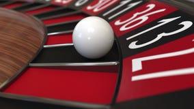 赌博娱乐场轮盘赌的赌轮球击中13十三黑色 3d翻译 免版税库存图片