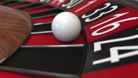 赌博娱乐场轮盘赌的赌轮球击中16十六红色 3d翻译 免版税库存图片