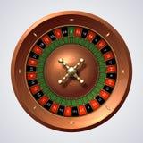 赌博娱乐场轮盘赌的赌轮 被隔绝的赌博的木红色旋转,幸运的比赛困境 3D现实轮盘赌旋转轮子 皇族释放例证