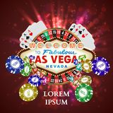 赌博娱乐场轮盘赌纸牌落的芯片 皇族释放例证