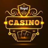 赌博娱乐场霓虹灯广告 向量例证