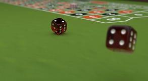 赌博娱乐场题材,演奏芯片和红色在赌桌, 3d上切成小方块例证 免版税库存图片