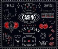 赌博娱乐场题材 在黑板的装饰设计元素 赌博的标志 皇族释放例证
