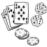 赌博的对象草图 皇族释放例证