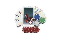 赌博的智能手机 库存照片