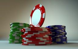 赌博的筹码堆积表面 免版税库存图片