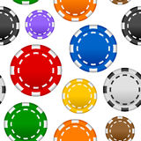 赌博的纸牌筹码无缝的样式 皇族释放例证