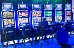 赌博老虎机在赌博娱乐场 免版税图库摄影