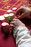 赌博轮盘赌的筹码 免版税图库摄影