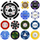 赌博集合向量的筹码 免版税库存图片
