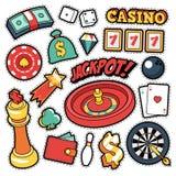 赌场徽章,补丁,贴纸-困境轮盘赌在可笑的样式的金钱卡片 图库摄影