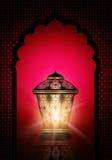 赖买丹月与发光的灯笼的kareem背景 库存例证