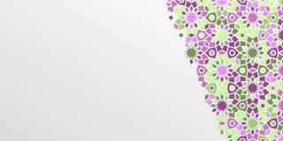赖买丹月的Kareem阿拉伯girih设计背景 马赛克伊斯兰教的装饰五颜六色的细节  问候赖买丹月卡片 向量例证