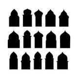 赖买丹月窗口和门kareem形状  传染媒介套阿拉伯门剪影 传染媒介标志传统伊斯兰教的曲拱 免版税库存图片