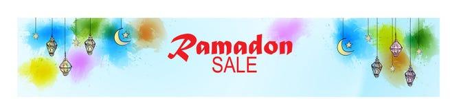 赖买丹月销售横幅的例证 免版税图库摄影