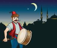 赖买丹月鼓手和清真寺 向量例证