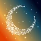 赖买丹月贺卡的华丽新月形月亮 库存图片