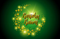赖买丹月Kareem与甲晕和星,金子颜色传染媒介例证的贺卡 免版税库存照片