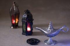 赖买丹月kareem埃及aladdin灯 库存照片