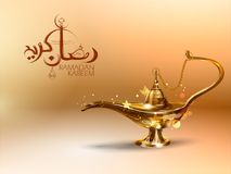 赖买丹月Kareem慷慨的赖买丹月问候用阿拉伯语徒手画与回教宗教节日的Eid古色古香的阿拉丁灯 图库摄影