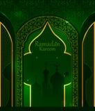 赖买丹月Kareem背景的装饰的伊斯兰教的阿拉伯花卉设计在愉快的Eid节日 皇族释放例证