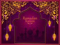 赖买丹月Kareem背景的装饰的伊斯兰教的阿拉伯花卉设计在愉快的Eid节日 向量例证
