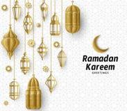 赖买丹月Kareem背景 伊斯兰教的阿拉伯灯笼 翻译赖买丹月Kareem 2007个看板卡招呼的新年好 库存例证