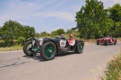 赖利9 Brooklands Speed (1928)在Mille Miglia跑2014年 库存照片