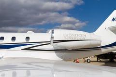 赛斯纳飞行器公司引证君主 库存图片