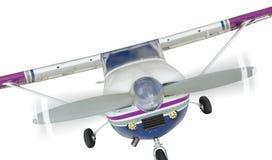 赛斯纳172唯一推进器飞机前面在白色的 免版税库存图片