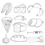赛斯食物,面包,比萨,鱼,香肠,乳酪,大蒜,胡椒,烤肉的传染媒介例证 库存例证