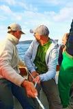 赛跑乘员组的帆船 图库摄影