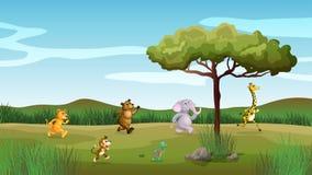 赛跑在小山的动物 向量例证