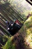 赛跑在森林里的四元组自行车 免版税库存照片