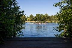 赛跑在泰晤士河在泰晤士的Henley我的划船者两个队  免版税库存照片