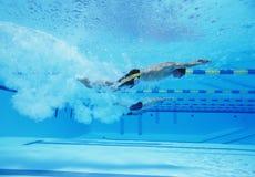 赛跑在游泳池的三位男性运动员水下的射击  免版税库存图片
