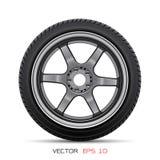 赛跑在白色背景传染媒介的铝轮子车胎样式 库存照片