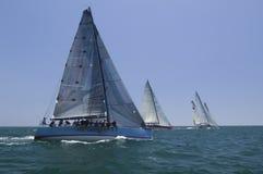 赛跑在蓝色海洋的风船与天空 库存图片