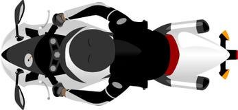 赛跑摩托车有车手顶视图 图库摄影