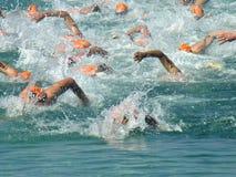 赛跑游泳三项全能 免版税库存照片