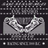 赛跑的摩托车,衬衣的,徽章,商标单色图形设计 免版税图库摄影