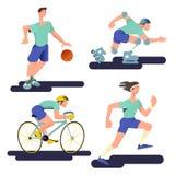 赛跑者、篮球运动员、骑自行车者和四轮溜冰者 在与梯度设计的舱内甲板设置的运动员 r 皇族释放例证