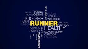 赛跑者健康慢跑者生活方式健身体育马拉松奥林匹克拥护行使运动生气蓬勃的词云彩 股票视频