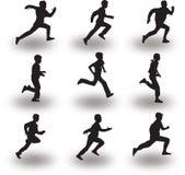 赛跑者剪影传染媒介 库存图片