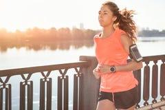 赛跑者在日出的晴朗的明亮的光跑步 库存图片